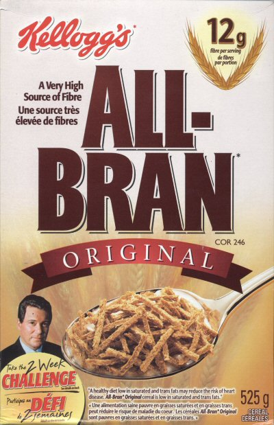 The front of the All-Bran cereal box featuring William Shatner